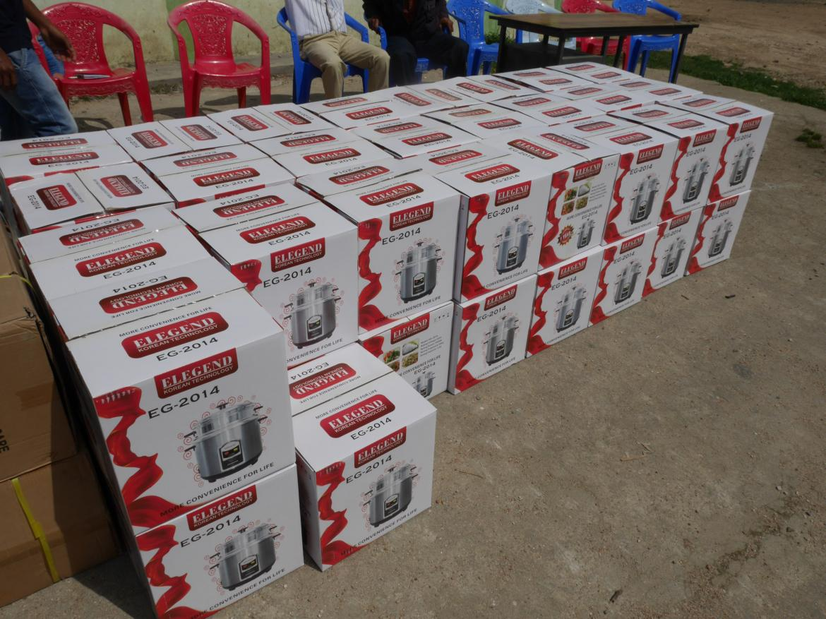 Electric rice cookers distributed